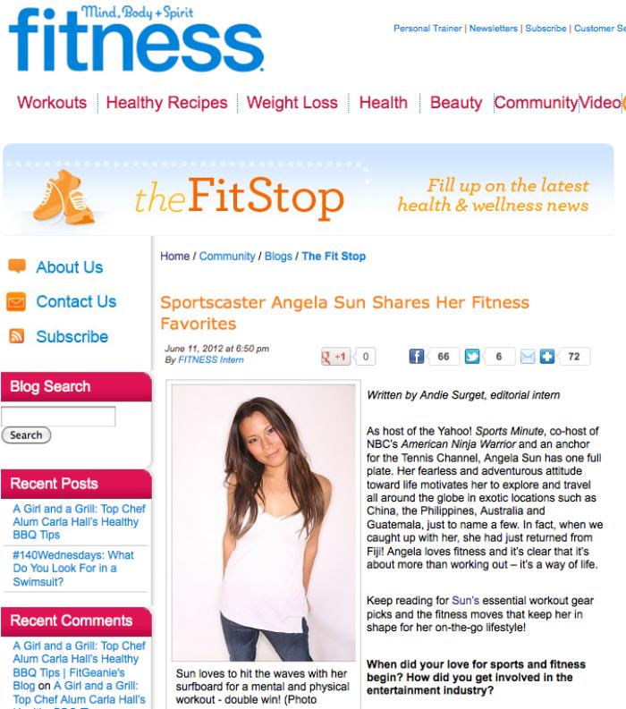 Fitness Magazine: Sportscaster Angela Sun Shares Her Fitness Favorites