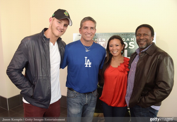 Actors Alexander Ludwig, Jim Caviezel, journalist Angela Sun and director Thomas Carter attend the LA Youth Sports Outreach Screening Of 'When The Game Stands Tall' at Regal 14 at LA Live Downtown on August 3, 2014 in Los Angeles, California. (August 2, 2014 - Source: Jason Kempin/Getty Images North America)