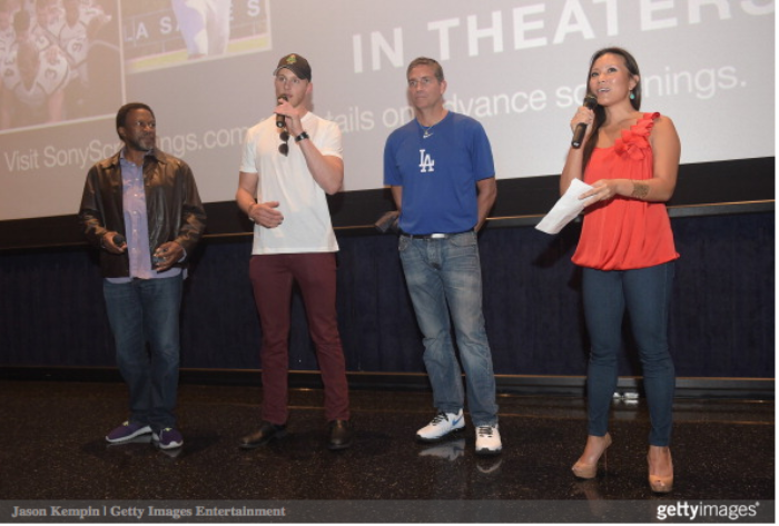 Director Thomas Carter, actor Alexander Ludwig, actor Jim Caviezel and journalist Angela Sun attend the LA Youth Sports Outreach Screening Of When The Game Stands Tall at Regal 14 at LA Live Downtown on August 3, 2014 in Los Angeles, California. (August 2, 2014 - Source: Jason Kempin/Getty Images North America)