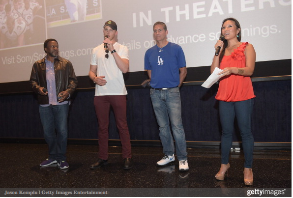 Director Thomas Carter, actor Alexander Ludwig, actor Jim Caviezel and journalist Angela Sun attend the LA Youth Sports Outreach Screening Of 'When The Game Stands Tall' at Regal 14 at LA Live Downtown on August 3, 2014 in Los Angeles, California. (August 2, 2014 - Source: Jason Kempin/Getty Images North America)